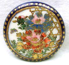 Antique Meiji Satsuma Button Fancy Detailed Flowers with Cobalt Border | eBay