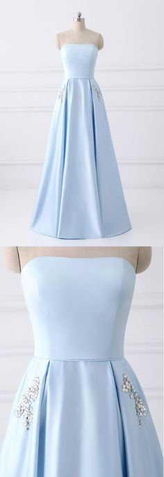 Simple A-line Strapless Long Crystal Light Blue Cheap Prom Dresses with Pocket #lightblue #cheap #prom #satin #long #okdresses