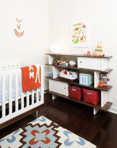 #Oeufny mini library and classic crib. #nursery #style #baby