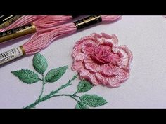 Garden roses. Embroidery for beginners | new desing | flower embroidery tutorial - YouTube Garden Embroidery, Hand Embroidery Patterns Flowers, Embroidery Stitches Tutorial, Rose Embroidery, Hand Embroidery Stitches, Hand Embroidery Designs, Embroidered Flowers, Couture Beading, 3d Rose