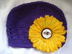 Baltimore Ravens Crochet Beanie Hat with Removable by OrbiToddle, $12.00
