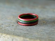 Wooden Ring - Skateboard Ring - Wedding Band - Canadian Maple - Ecological Jewelry - Waterproof - Skate Ring - Red - Green - Gray -Brown