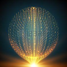 Fondo de malla de vectores de fondo. Esfera de tentáculos bioluminiscentes. Tarjeta de estilo futurista