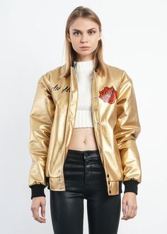 Your new favorite jacket.Rock this golden leather bomber with our Sophie High Rise Skinny Jeans for the perfect look. ** All sales final** Shipping Specificat