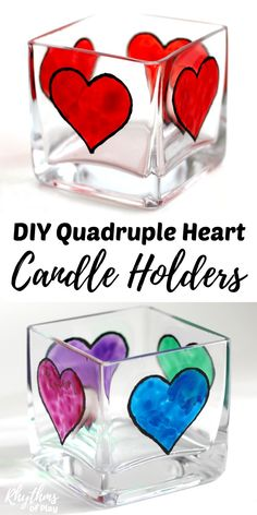Creating gorgeous stained glass heart decorations with glass paint on square votive candle holders is an easy craft for older kids, teens, and adults. Anyone that can draw or trace can do this easy art project. These DIY quadruple heart square votive candle holders make a beautiful wedding centerpiece or gift idea for Valentine's Day, Mother's day, Father's Day and anniversaries. They can even be personalized!
