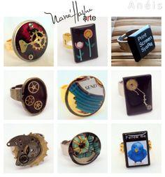 Anéis feitos com lixo eletrônico e peças de relógios.