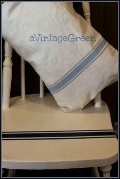 a Vintage Green: Tutorial Grain Sack Painted Stripes on Canvas Sacks