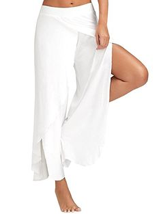 0fb81c4dd14 chimikeey Women s fashion High Slit Flowy Layered elastic solid color wide  leg loose pants causal summer pants at Amazon Women s Clothing store