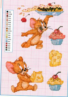 The mouse Jerry with cheese and sweets cross stitch pattern - free cross stitch patterns crochet knitting amigurumi Cross Stitch Disney, Disney Cross Stitch Patterns, Cross Stitch For Kids, Just Cross Stitch, Cross Stitch Needles, Cross Stitch Baby, Cross Stitch Animals, Counted Cross Stitch Patterns, Cross Stitch Charts