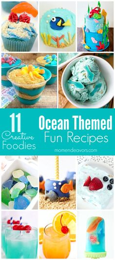 Ocean Themed Recipes - Desserts & Drinks perfect for a beach-themed or Finding Dory themed party!