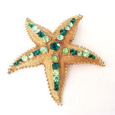 Broche étoile de mer strass vert par Dodds Figural mode Vintage bijoux