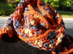 Granny Square Crochet Scarf in Rust Brown by crochetedbycharlene, $22.00