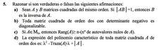 Ejercicio 5 del Examen de Matemática 2 (ADE, ULL). 30 Noviembre 2009. Tema: Matrices