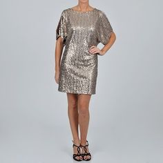 S.L. Fashions 'Cold Shoulder' Taupe Sequin Dress | Overstock.com