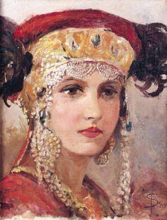 Young woman wearing soroka