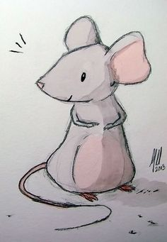 mouse sketch and watercolor - mike martin Cartoon Drawings, Easy Drawings, Animal Drawings, Maus Illustration, Illustrations, Watercolor Animals, Watercolor Art, Mouse Sketch, Mouse Paint