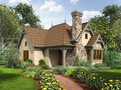 Plan 69593AM: 2 Bed Tiny Cottage House Plan | Pinterest | Cottage house