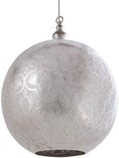 Hängelampe Kugel - Filigrain - Orientalisch - XXXL - Silber - Zenza