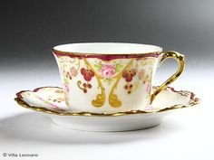 Limoges FLAMBEAU Rose Pink & Aya Kon cup and saucer