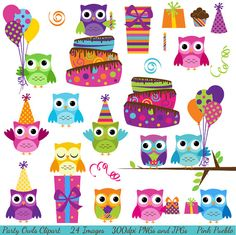 Party Owls Clipart Clip Art, Birthday Owls Clipart Clip Art - Commercial and Personal via Etsy