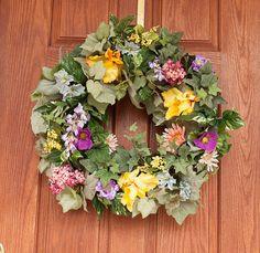 summer wreath grapevine wreath spring by HappyWreathDesigner