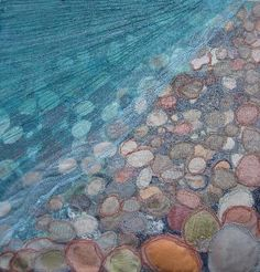 Textile Art 502503270893609336 - Textile Seascapes 2008 – Naomi Renouf – a site of beautiful work. She not only does textile art, but torn paper and painting. Source by buennemeyer A Level Textiles, Fibre Textile, Creative Textiles, Quilt Modernen, Free Motion Embroidery, Textile Artists, Felt Art, Beach Art, Quilting Designs
