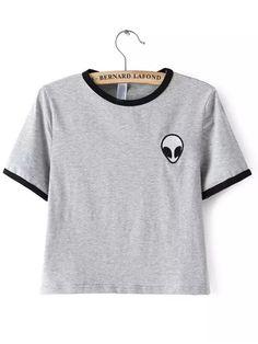 T-Shirt+imprimé+-gris++9.12