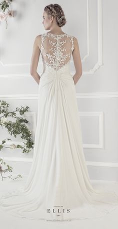 #Ellis2015 Style 12216 Back Shot 'Soft Pleated Chiffon Fluted Dress with Stunning Sheer Appliqué Lace Back and Gathered Chiffon Train'