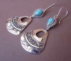 Elegant Sterling Silver with Turquoise Dangle Earrings / by Telur