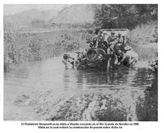 Puerto Rico 1906. President Roosevelt (inside the car) crossing the Río Grande de Arecibo. During this visit he ordered the construction of the La Playita Bridge over this river in Utuado.