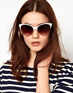 Enlarge Mango Touch Oversized Two Tone Cateye Sunglasses