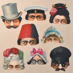 A set of eight attractive Victorian reproduction masks from the Leksaksmuseum in Stockholm. www.mamelok.com / facebook.com/MamelokPapercraft