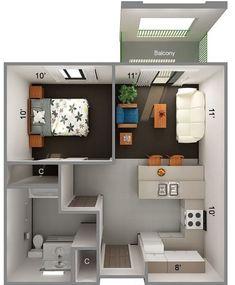 52 Ideas Living Room Decor Apartment Small Floor Plans For 2019 Studio Apartment Layout, Small Apartment Design, Small Apartments, Studio Apartments, Sims 4 House Design, Tiny House Design, Small Floor Plans, Small House Plans, Sims House Plans