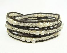 White freshwater pearl wrap bracelet with glass beads on dark brown leather cord