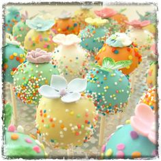 Love the colours on these cake pops