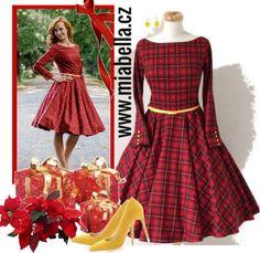 Červené kárované šaty s rukávy ADELE. lodičkový výstřih dlouhý rukáv  ukončený knoflíčky (barvu si f1d8e5b3f3