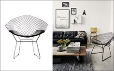 Decofilia te presenta otro clásico del diseño del siglo XX: La silla Diamond de Harry Bertoia, un diseño de 1952 realizada íntegramente varillas de alambre.