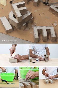 Cement letters on bookshelves as book ends and dividers Cement Art, Concrete Crafts, Concrete Art, Concrete Projects, Concrete Design, Diy Projects, Diy Concrete Planters, Diy Y Manualidades, Beton Diy
