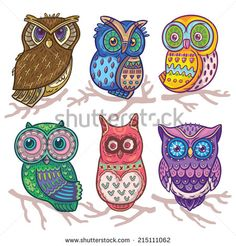 Cartoon funny set with cute owls. Vector hand drawn illustration