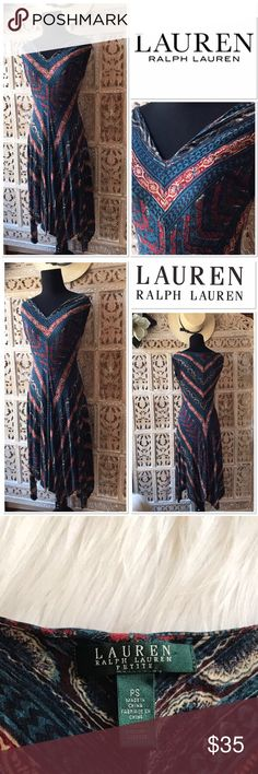 """[Ralph Lauren] v-neck printed dress [Ralph Lauren] v-neck printed dress size PS. Across chest about 15"""". Dress length about 44"""". Asymmetrical hem. Fully lined with self lining. . Lovely midored v-neck  dress. Size Petite small. It will fit a regular size Small as well. 100% Rayon. Very comfortable. Very Good condition Lauren Ralph Lauren Dresses Midi"""