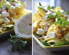 pasta with lemon, almonds, and feta