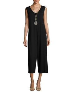 Lightweight+Cropped+Jersey+Jumpsuit,+Black+by+Eileen+Fisher+at+Neiman+Marcus.