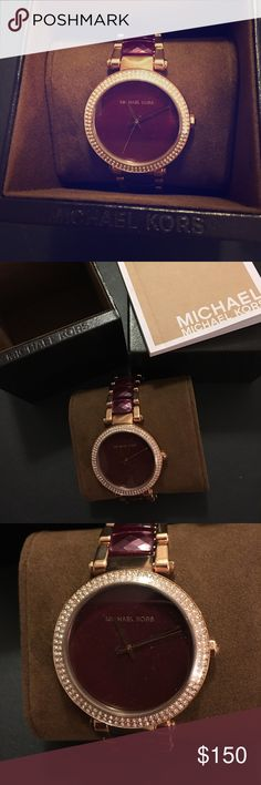 Michael Kors Bracelet Watch New without tag. Never worn. Rose gold-to e stainless steel bracelet with plum faceted acetate center links. 39mm. Crystal-set bezel. Water resistant up to 100 meters. Includes original MK box, watch cushion, and booklet. With the holiday season amongst us, this will make the perfect gift for a bestie, sister, mom, grandmom, aunt, etc. Michael Kors Accessories Watches