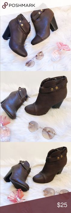Brown Booties🎀 Brown faux leather booties! a.n.a Shoes Ankle Boots & Booties