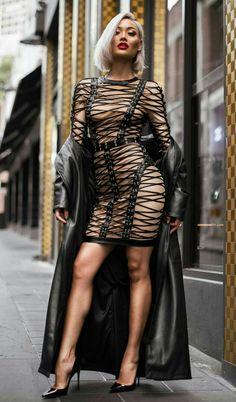 black leather laced dress + black leather coat + black heels