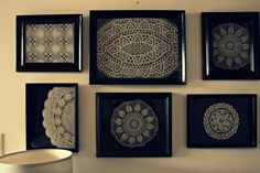 Good idea for your grandmothers knitted doilies. Displayed in a black matted frame.