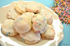 Mini Rainbow Sugar Cookies w/ Vanilla Glaze