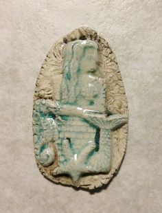 Sand Castle Mermaid ceramic pendant handmade artisan by SlinginMud