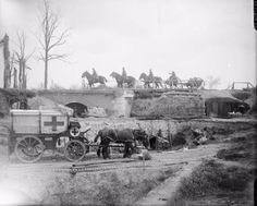 Regimental aid post and horse ambulance, Royal Army Medical Corps (RAMC), during the Third Battle of Ypres, 24 September 1917.  . vintage everyday: 10 Ways Animals Have Helped the War Effort from World War I & II