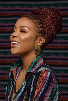 85 Box Braids Hairstyles for Black Women - Hairstyles Trends Braided Hairstyles For Black Women Cornrows, Black Hair Updo Hairstyles, African Braids Hairstyles, Braided Updo, Hairstyle Look, Black Women Hairstyles, Girl Hairstyles, Protective Hairstyles, Purple Braids
